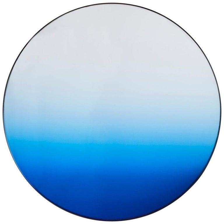 Circular Blue Gradient Mirror by Phillip Jividen For Sale