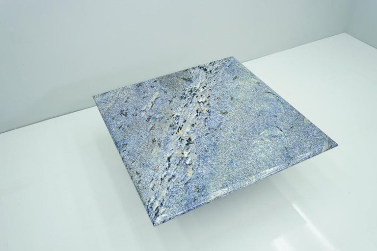 Mid-Century Modern Blue Granite Coffee Table, 1970s Stone, Marble For Sale
