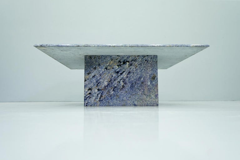 European Blue Granite Coffee Table, 1970s Stone, Marble For Sale