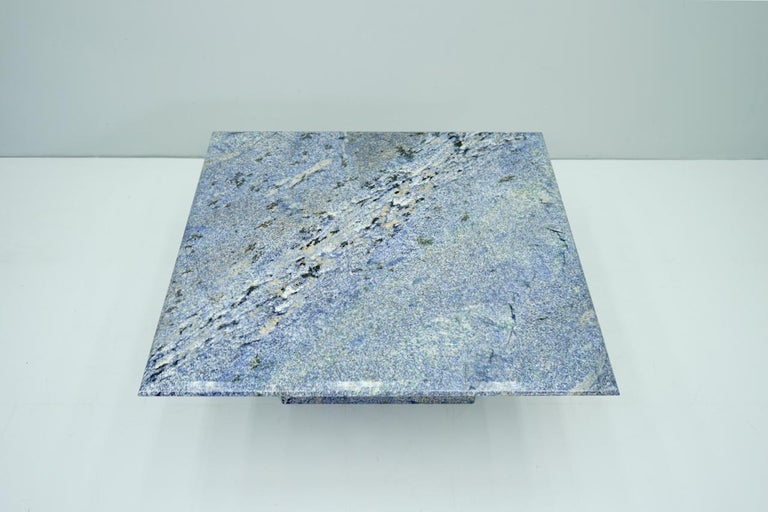 Late 20th Century Blue Granite Coffee Table, 1970s Stone, Marble For Sale