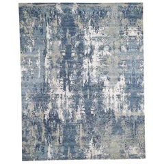 Blue-Gray Abstract Design Wool and Pure Silk Hand Knotted Oriental Rug