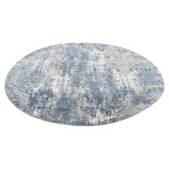 Blue-Gray Abstract Design Wool and Pure Silk Handmade Round Oriental Rug