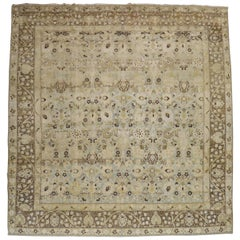 Blue Gray Chartreuse Antique Persian Tabriz Carpet, Early 20th Century