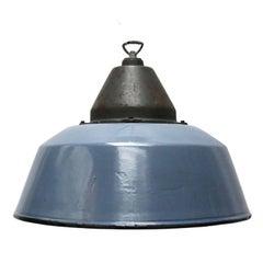 Blue Gray Enamel Cast Iron Vintage Industrial Factory Pendant Lights (13x)