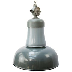 Blue Gray Enamel Vintage Industrial Cast Iron Top Factory Pendants