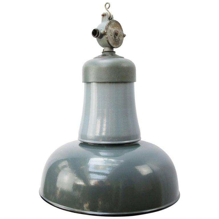 Blue Gray Enamel Vintage Industrial Cast Iron Top Factory Pendants For Sale