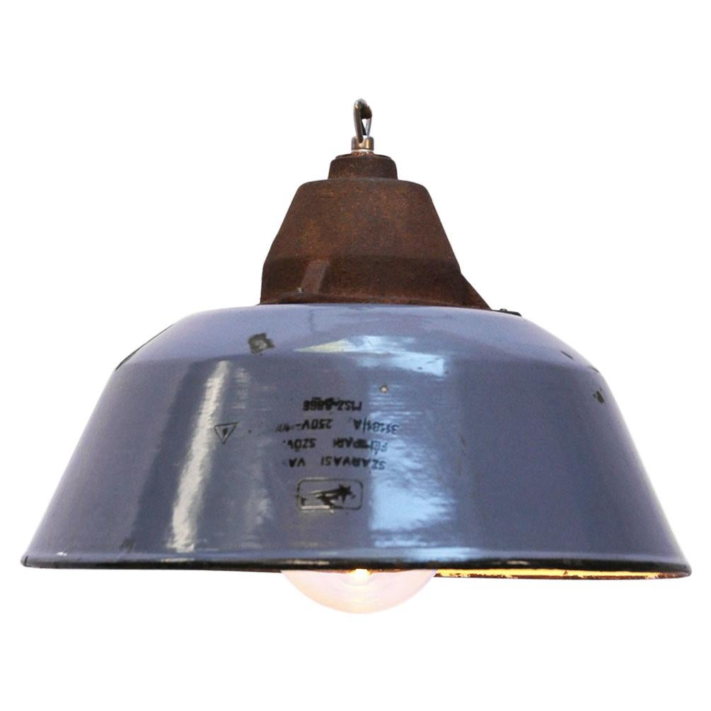 Blue Gray Enamel Vintage Industrial Clear Glass Cast Iron Pendant Lights