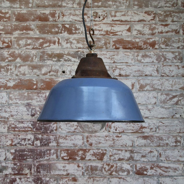 20th Century Blue Gray Enamel Vintage Industrial Clear Glass Cast Iron Pendants For Sale
