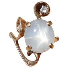 Blue Gray Star 8 Carat Sapphire and European Diamond Ring, circa 1950