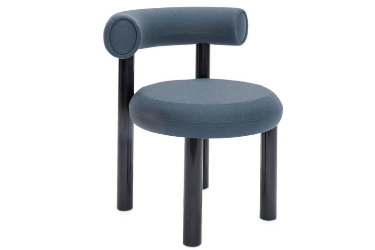 Modern Blue Gray Upholstery with Metal Gloss Lacquer Leg Dining Chair, Tom Dixon For Sale
