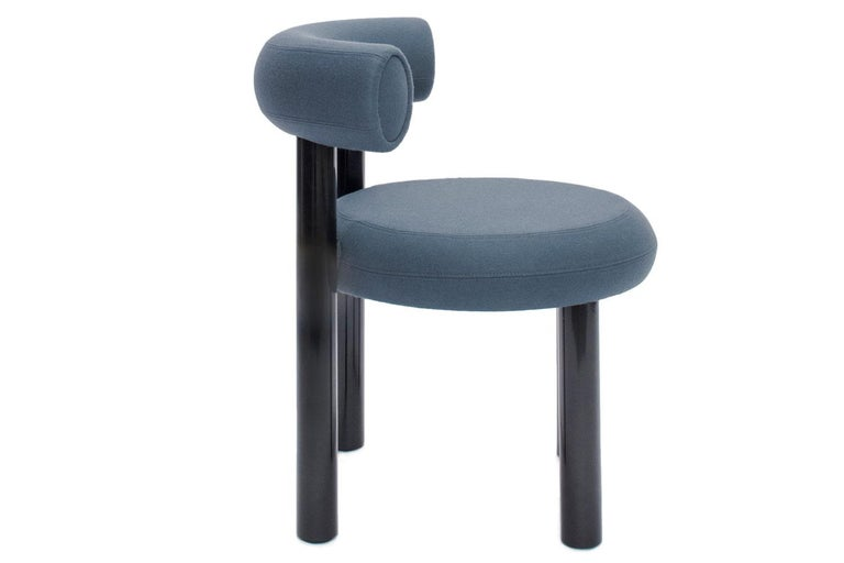 English Blue Gray Upholstery with Metal Gloss Lacquer Leg Dining Chair, Tom Dixon For Sale