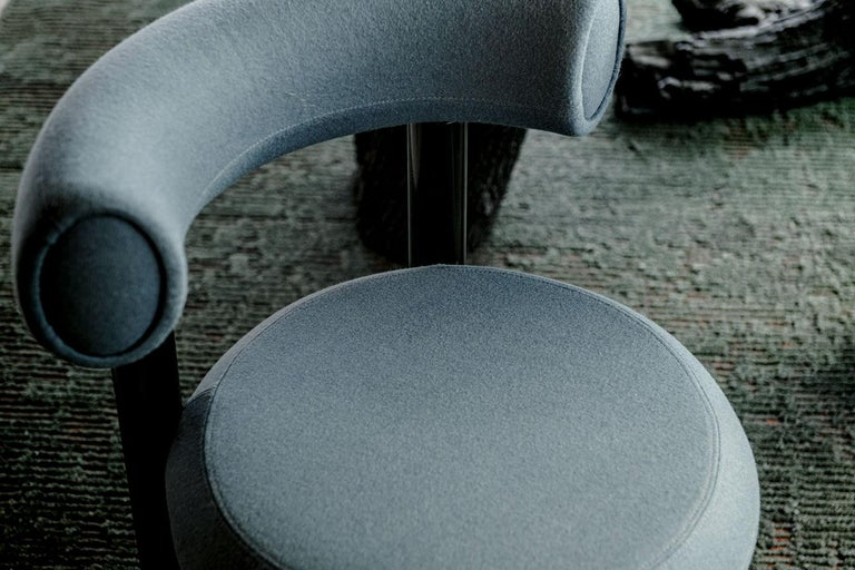 Lacquered Blue Gray Upholstery with Metal Gloss Lacquer Leg Dining Chair, Tom Dixon For Sale