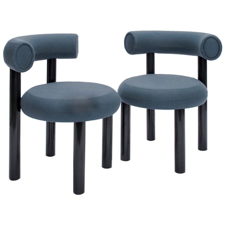 Blue Gray Upholstery with Metal Gloss Lacquer Leg Dining Chair, Tom Dixon For Sale