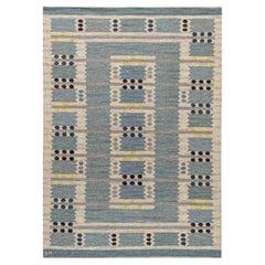 Blue, Gray, Yellow Vintage Swedish Flat-Weave Rug Signed 'SH' Svensk Hemslojd
