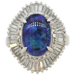 Blue-Green Australian Black-Opal Diamond Platinum Ring