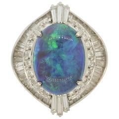 Blue-Green Australian Opal Diamond Platinum Ring