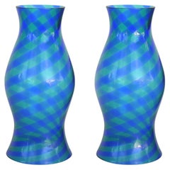 Blue & Green Blown Glass Hurricane Shades