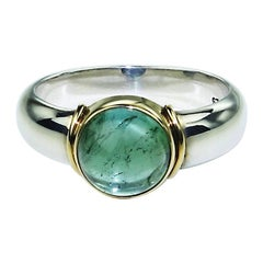Blue-Green Cabochon Tourmaline and Sterling Silver Ring with 18K Gold Accents