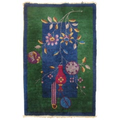 Blue Green Chinese Art Deco Mat