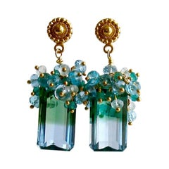 Blue Green Emerald Cut Ametrine Cluster Earrings, Bella III Earrings