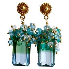 Blue Green Emerald Cut Ametrine Cluster Earrings, Bella IV Earrings