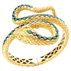 Blue Green Enamel Yellow Gold Snake Bangle