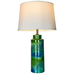 Blue & Green Italian Ceramic Lamp by Bitossi for Raymor