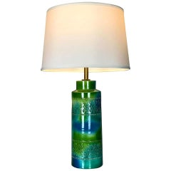 Mid Century Modern Table Lamp with Blue and Green Glaze by Bitossi for Raymor