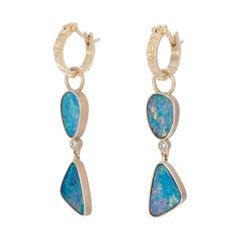 Blue Green Opal Two-Tiered Drop Earrings in 18 Karat Gold