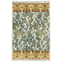 Blue, Green, Orange, and Gold Art Nouveau Design Persian Carpet