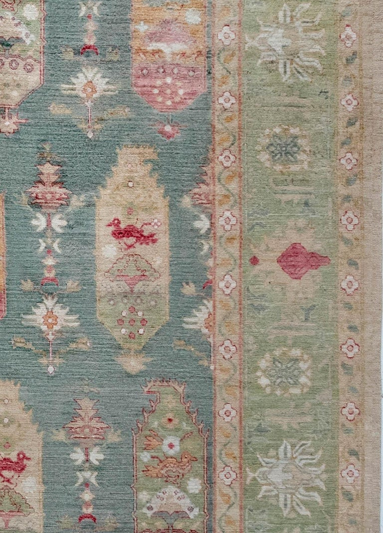 Hand-Knotted Traditional Oushak Design Blue, Green, Orange & Red Knotted Wool Rug For Sale