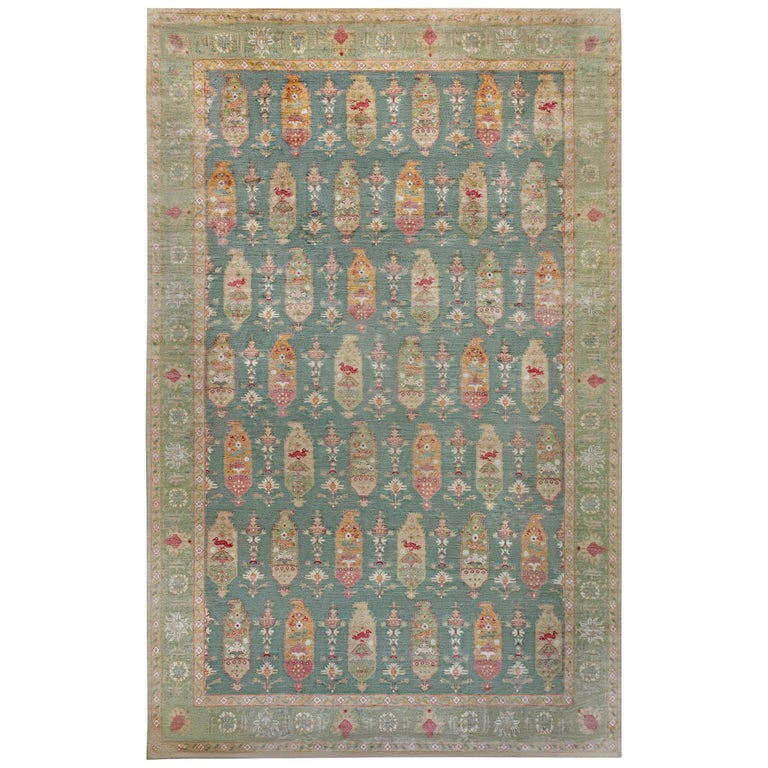 Traditional Oushak Design Blue, Green, Orange & Red Knotted Wool Rug For Sale