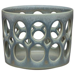 Blue/Green Pierced Cylindrical Ceramic Fruit Bowl
