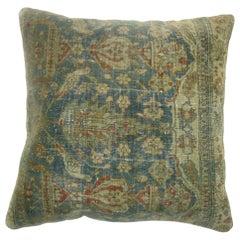 Blue Green Pigeon Antique Persian Rug Pillow