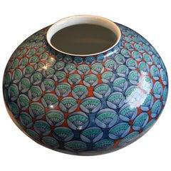 Blue Green Red Ceramic Vase by Japanese Master Artist