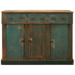 Blue-Green Rustic Primitive Cabinet