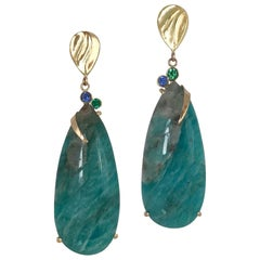 Blue Green Teardrop Amazonite Gold Earrings with Blue Sapphire and Green Garnet