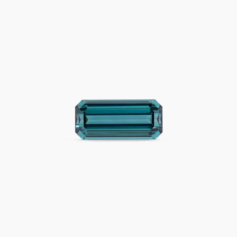 Contemporary Blue Green Tourmaline Ring Gem 9.64 Carat Unset Emerald Cut Loose Gemstone For Sale