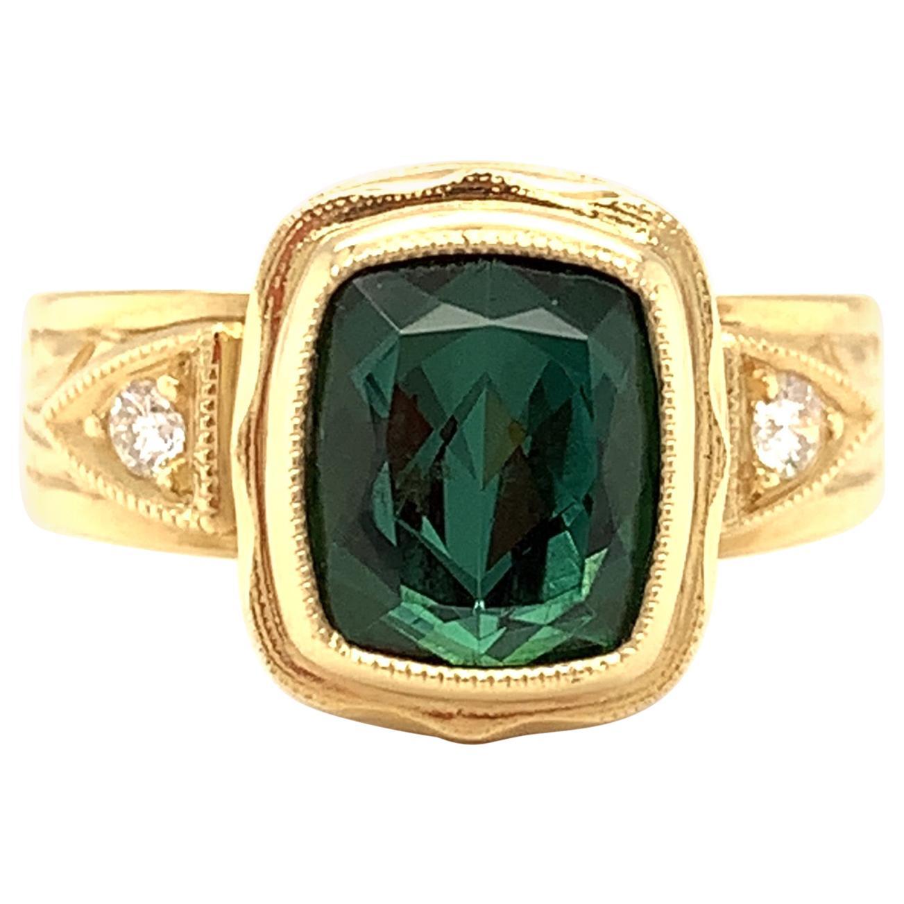 2.48 Carat Blue-Green Tourmaline, Diamond, Yellow Gold Bezel Hand Engraved Ring