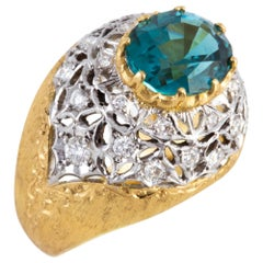 Blue Green Tourmaline and Diamond Ring in Florentine Crafted 18 kt Gold