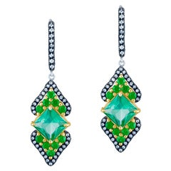 Blue Green Tourmaline and Tsavorite Earrings in 18 K Gold with Diamond Accent