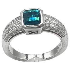 Blue Green Tourmaline and White Diamond Ring