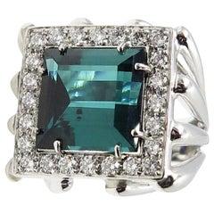 Blau Grüner Turmalin Diamant 18 Karat Weißgold Statement Ring