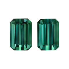 Blue Green Tourmaline Gemstone Pair of 3.16 Carat Unset Loose Emerald Cut Gems