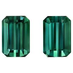 Blue Green Tourmaline Gemstone Pair of 3.16 Carat Unset Loose Emerald Cut Gems