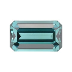 Blue Green Tourmaline Ring Gem 11.35 Carat Emerald Cut Loose Gemstone