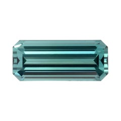 Blue Green Tourmaline Ring Gem 5.85 Carat Emerald Cut Loose Gemstone