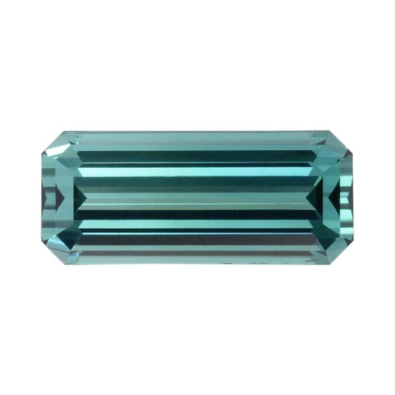 Blue Green Tourmaline Ring Gem 5.85 Carat Emerald Cut Loose Gemstone For Sale