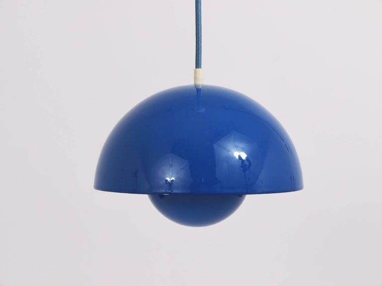 Mid-Century Modern Blue-Green Verner Panton Flowerpot Pendant Lamp, Louis Poulsen, Denmark, 1969