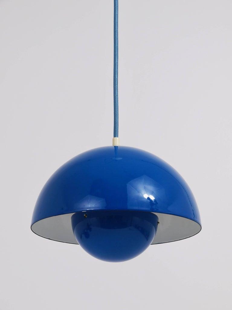 Danish Blue-Green Verner Panton Flowerpot Pendant Lamp, Louis Poulsen, Denmark, 1969